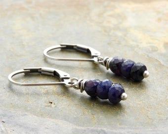 Blue Gemstone Earrings - September Birthstone - Sapphire Dangle Earrings - Sterling Silver - Sapphire Earrings - Lightweight  #4880