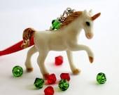Small Unicorn Christmas Ornament, White Unicorn Tree Decor, Handmade Tree Ornament by Hendywood