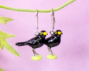 Handmade Blackbird Earrings, bird earrings with enamelled pendant