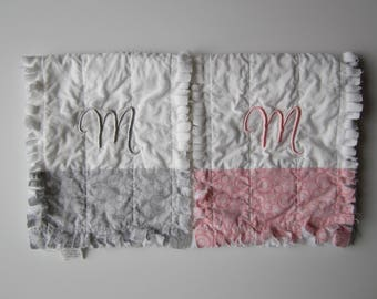 Girl Monogram Burp | Set of Two | Personalized Baby Gift | Pink Gray Baby | Burp Rags