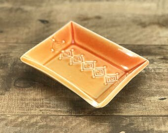 Handmade soap dish.  Porcelain soap dish.  Red to amber ombre glazed soap dish.  Bathroom accessories.  Small dish or catch-all dish.