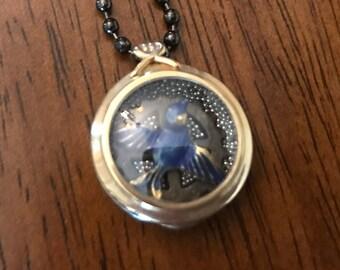 Vintage Watch Case Locket Bluebird Necklace