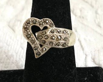 marcasite heart ring . heart sterling ring . Marcasite Sterling Ring . heart marcasite sterling ring