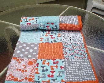 Handmade Baby quilt, Fox baby quilt, baby boy or girl bedding quilt, rustic, woodland, toddler, crib, orange, grey, teal,aqua, Little Foxes