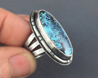 Turquoise Ring, Sterling Silver Blue Turquoise Statement Ring, Oval Turquoise Ring, Boho Ring, Ready to ship, Size 8