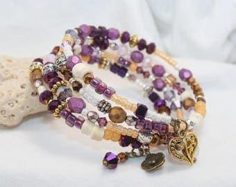 Beaded bracelet, Memory wire bracelet, stacked 4 coil boho chic bracelet, Czech beads, Swarovski Crystals, Charm bracelet, metal beads