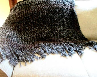 black heathered solid self striping black grey brown and charcoal throw blanket