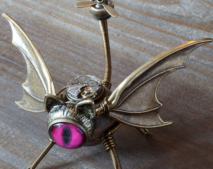 Steampunk Winged Cat Sculpture with Fuchsia eye