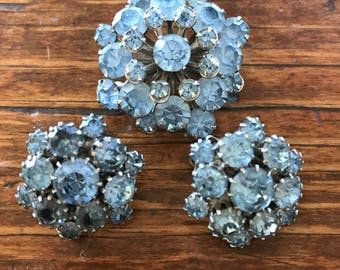 1950's Powder Blue Rhinestone Clip Earrings and Brooch
