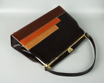 Vintage 1970s Naturalizer Handbag Black Brown Tan and Rust Faux Lizard Envelope Purse