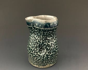 Cream Pitcher - Dark Cobalt Soda Fired Stoneware - Dimple - Ron Philbeck Pottery (#1)