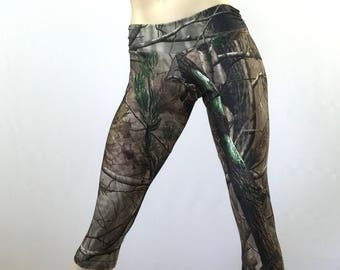 SALE  l/xl - Camo Pants Camouflage Hot Yoga Capri Pants Low Rise SXYfitness  made in the USA