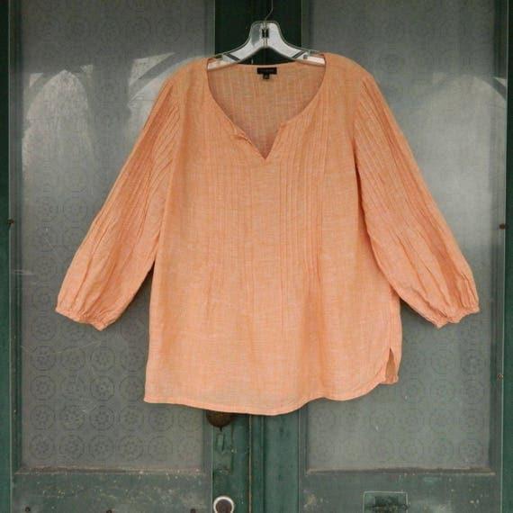 Talbots Boho 3/4 Sleeve Pullover Blouse -M- Yarn-Dyed Sweet Potato Linen