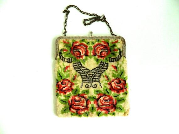 Vintage Floral Red Rose Beaded Bag