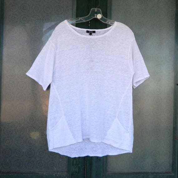 G & C Short-Sleeve Sweater Tee -S- White Linen Knit NWT