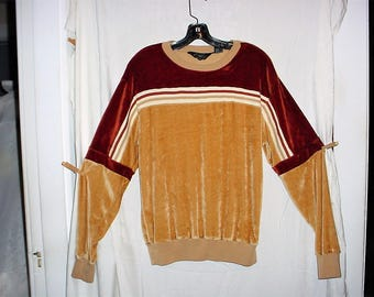 Vintage 70's Velour Pullover Mens L Brown Beige Long Sleeve Townsley