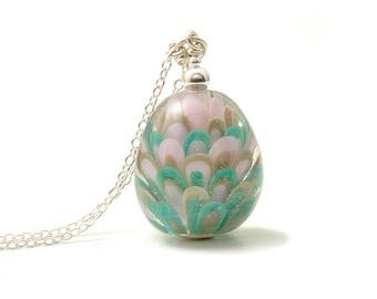 Teal and Pink Necklace | Long Glass Pendant | Handmade Lampwork Glass and Sterling Silver Necklace | UK Lampwork Jewellery