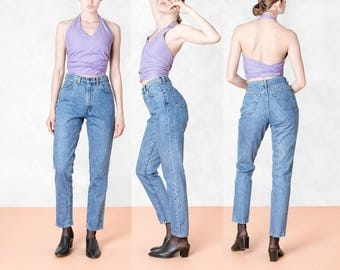 LEVIS high waist jeans 90S skinny vintage denim WOMEN pants stone wash MOM / size 5 / waist 27 28 /