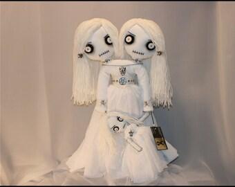 OOAK Spooky Ghost Dead Siamese Twin Rag Doll Creepy Gothic Halloween Folk Art By Jodi Cain Tattered Rags
