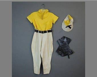 20% Sale - Vintage 1930s Girl's Dance Costume, Horse Jockey Top Jodhpurs Hat & Spats, Halloween