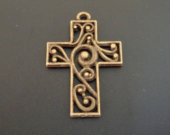 Bronze Filigree Cross - Low Shipping