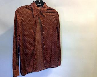 vintage 70's long sleeve shirt,brown, diamond pattern, semi-transparent