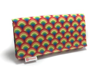 Rainbow wallet. Women's wallet. Card wallets for women. Wallet with zippers. Vegan wallet.  Gift for her.