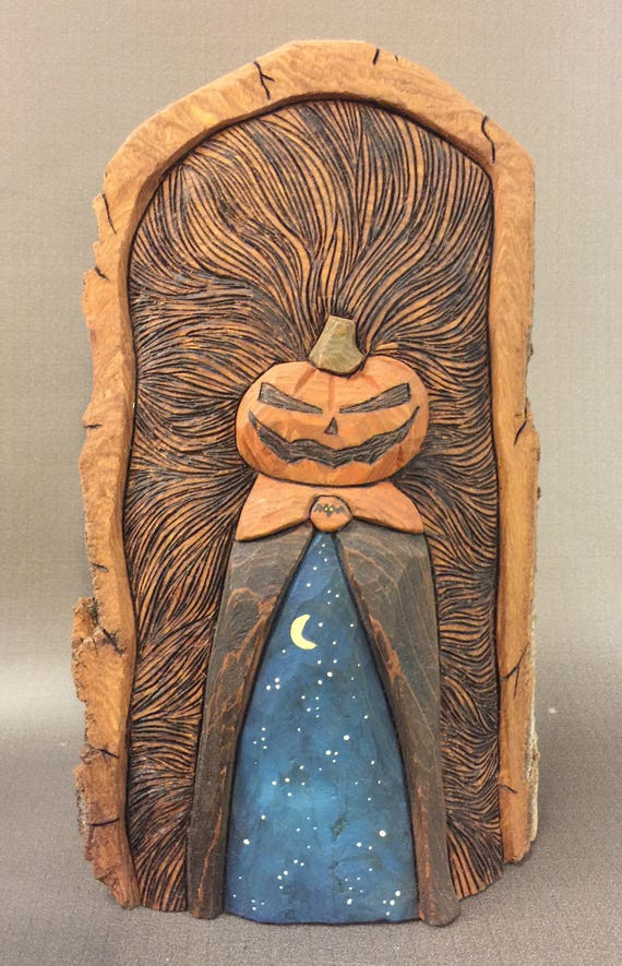 HAND CARVED original  Halloween jack-o-lantern man from 100 year old Cottonwood Bark
