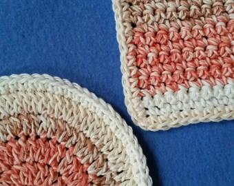 Two Cotton Washcloths Dishcloths, one round and one square, handmade crochet washcloth set dishcloth set - Natural Stripes