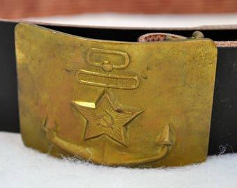 Soviet Russia naval infantry uniform field belt with star buckle_Sz.2