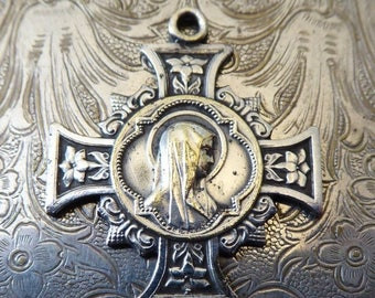 ON SALE Ornate Vintage Catholic Holy Cross Religious Medal, The Immaculate Heart Of The Blessed Virgin Mary Our Lady Of Lourdes Miraculous M