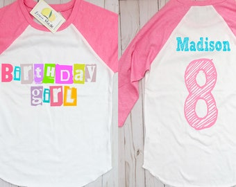 Trolls Birthday shirt with name and digit Pink Raglan t