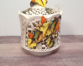 Vintage Lefton Autumn Leaves Jelly, Jam or Condiment Jar, Thanksgiving, Fall Leaves, #7284