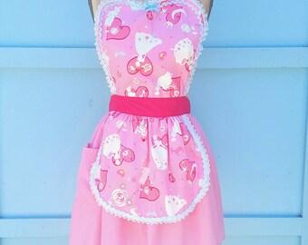CINDERELLA APRON , Princess apron, running costume,  women's Cinderella dress up apron, pink Cinderella , apron, costume apron