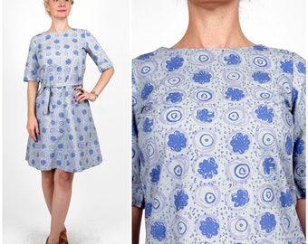 Vintage 1960s Printed Cotton Mod Periwinkle Drop-Waist Scooter Dress with Waist Tie by Marimekko / Design Research | Medium