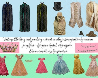 Vintage clothing 2 | jewelry overlays | cape | cloak | fairytale gowns | ballgowns | clothing | waistcoats | gilets | hats | tiaras | crowns
