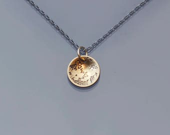 Tiny 14K Gold Lace pendant, oxidized sterling silver chain, mixed metal necklace, vintage lace necklace, dainty necklace,