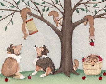 Shelties (shetland sheepdogs) baffled by tree full of squirrels / Lynch signed folk art print
