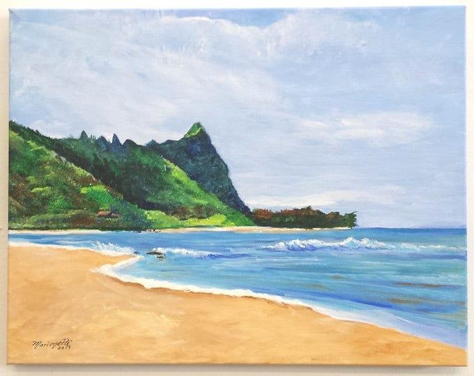 tunnels beach kauai original acrylic painting hawaii hawaiian paintings ocean beach seascapes interior decor kauai fine art bali hai makana