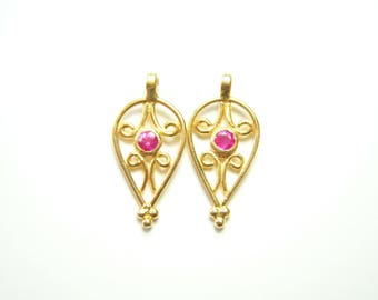 Solid 18k Gold Hot Pink Sapphire Dangles - Pair - 7.5x16mm