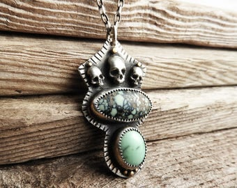 Sterling silver skull necklace, poseidon variscite, skull jewelry, skullies, girlfriend gift for her, statement necklace, halloween jewelry