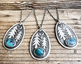Moon trees necklace in silver, forest necklace, hiking jewelry, wilderness necklace, turquoise necklace, pine trees, camping, gift for her