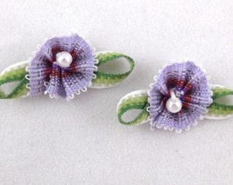 10 Handmade Ribbon Violets with Faux Pearl Center