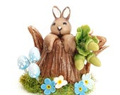 1/12TH scale tree stump teapot with bunny