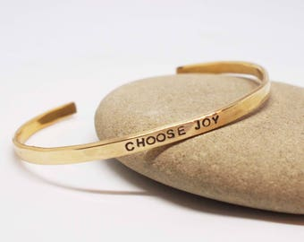 Choose Joy Bracelet, Choose Joy Cuff, Daily Reminder Jewelry, Thin Stacking Cuff, Cuff Bracelet