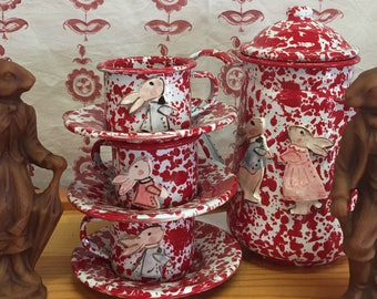 Adorable Red and White Enamelware Tea Set with Bunnies, Teapot, 3 Cups, 3 Plates