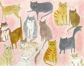 Fourteen and a Half Fat Cats.   Limited edition print by Vivienne Strauss.