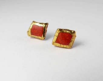 Ceramic earrings, red with gold.