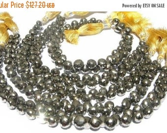Sale 45% off 8 Inches - High Quality Super Sparkly Pyrite Micro Faceted Onion Briolettes Size 6.5 - 7mm approx