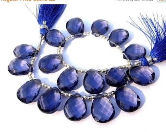 Sale 45% off 8 Inches - AAA Iolite Blue Quartz Faceted Pear Briolette Size 16x12mm approx 17 Pieces 8 matched pair 1 focal pendant